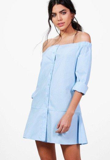 robe-chemise-col-bardot