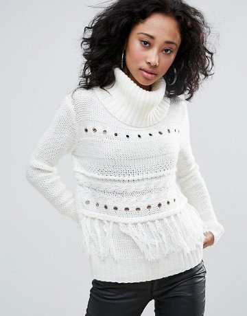 Pull Blanc Col Roule