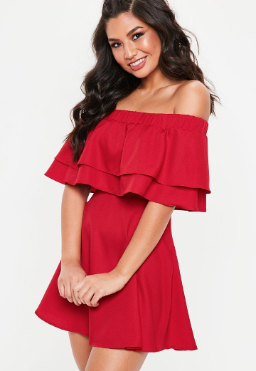 Robe Rouge Col Bateau Missguided Lenaelle